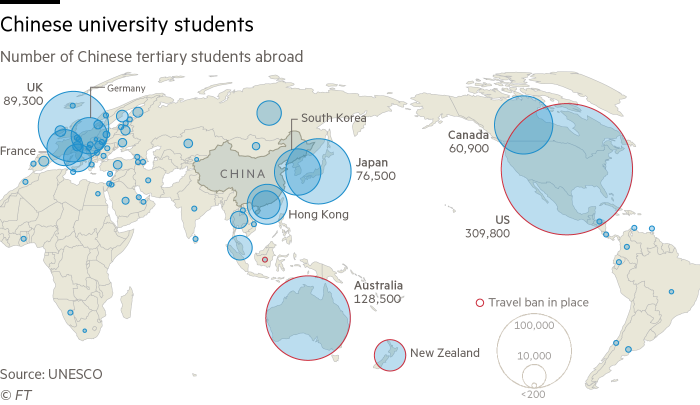 World map showing the number of Chinese tertiary  students abroad.