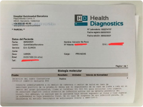 Screengrab of a supposed PCR test showing a positive result for Spanish politician Salvador Illa. The test was fake.