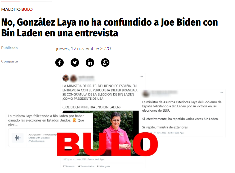 """Screenshot of the article published by Maldito Bulo on Thursday, November 12, 2020, titled """"No, González Laya did not confuse Joe Biden with Bin Laden during an interview."""""""